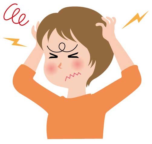 頭痛持ちの女性イラスト