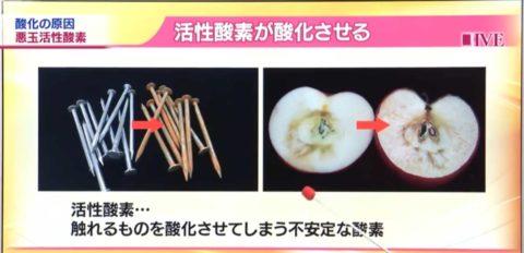 活性酸素によって錆びたクギとりんご
